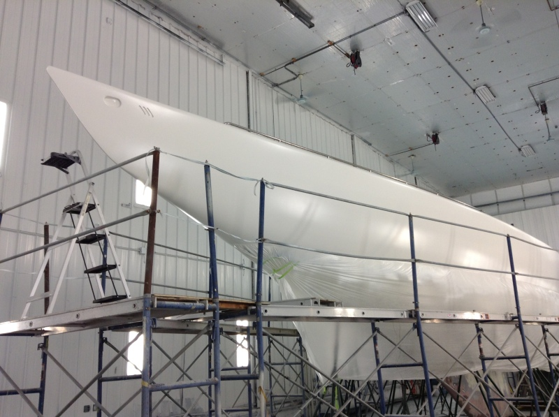 Historic 12mR yacht Freedom (US-30) newly faired and primed.