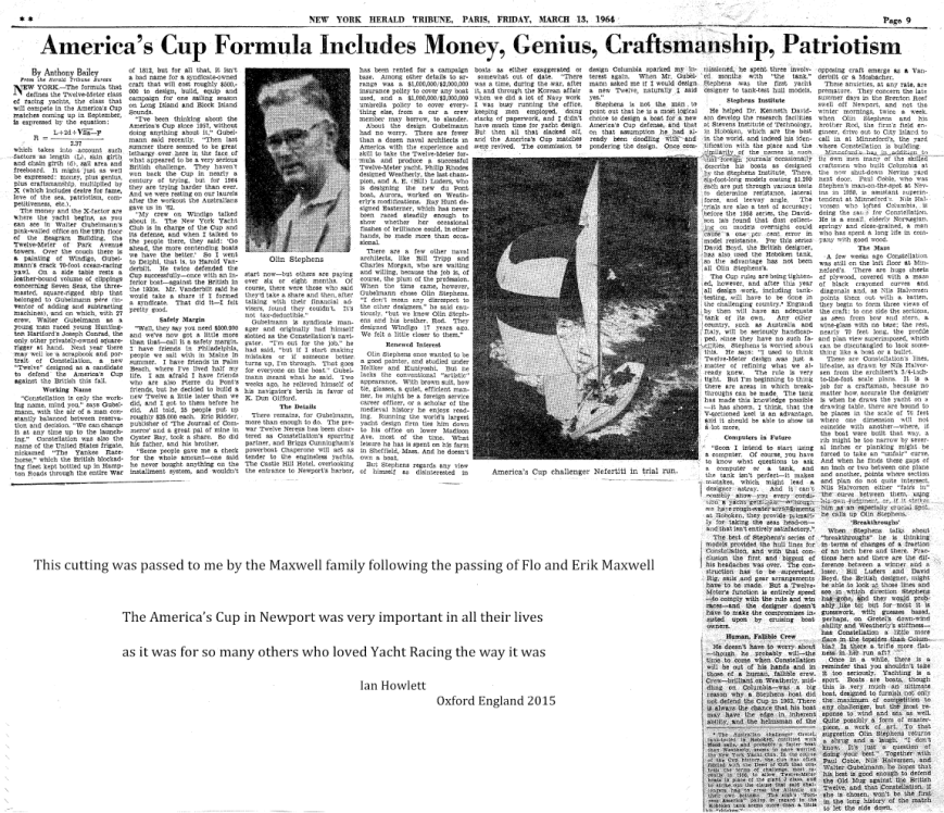 New York Herald Tribune, Paris, Friday, March 13, 1964 - Page 9 AMERICA'S CUP FORMULA INCLUDES MONEY, GENIUS, CRAFTSMANSHIP, PATRIOTISM By Anthony Bailey- from the Herald Tribune Bureau