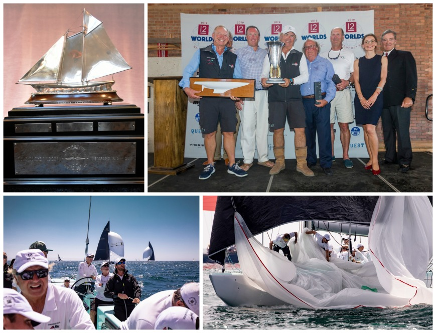 Top Row: Waypoints Series Perpetual Trophy (Photo Credit: SallyAnne Santos); Courageous syndicate and crew member Ralph Isham (middle) accepts the Waypoints Series vintage keeper trophy at the 2019 12 Metre Worlds (Photo Credit: Ian Roman). Second Row: The crew of Courageous in the cockpit and on the deck (Photo Credit: Onne van der Wal)