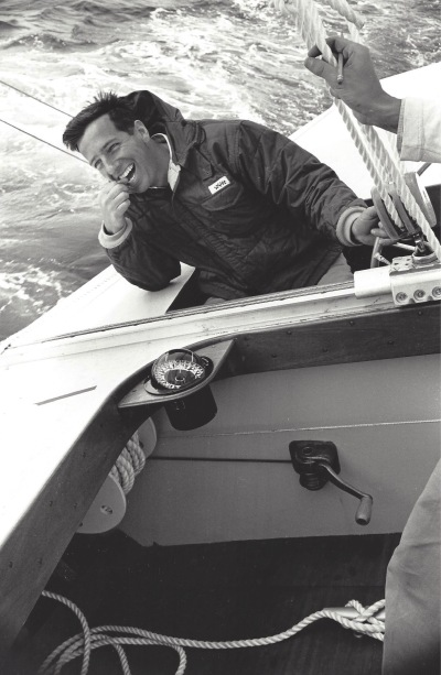 Ted Hood at helm of Nefertiti (US-19), 1962