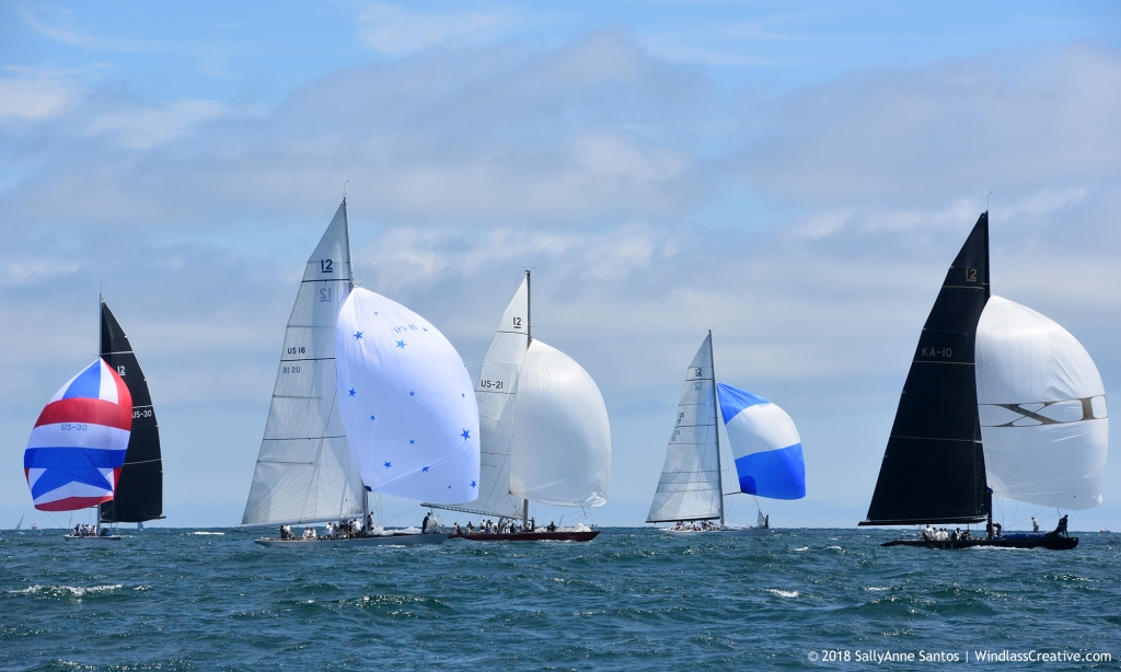 Newport's iconic 12mR Racing Fleet sailing at 2018 New York Yacht Club Race Week, photo by SallyAnne Santos | Windlass Creative