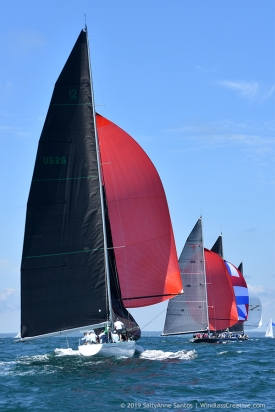 12mR yachts racing downwind at Newport