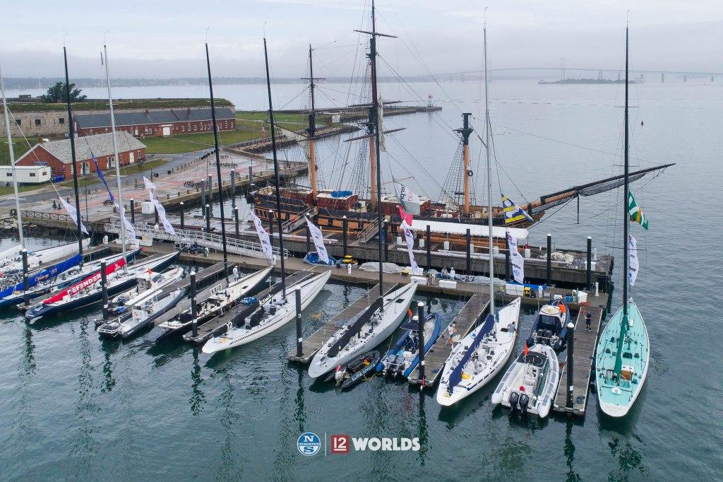 2019 12 Metre World Championship fleet docked at Fort Adams, Newport Rhode Island