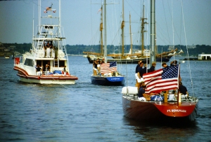 Twelve Metre yachts Freedom (US-30) and Liberty (US-40) being towed to the race course during the 1983 America's Cup Defender Trials, photo by Brian Melzian