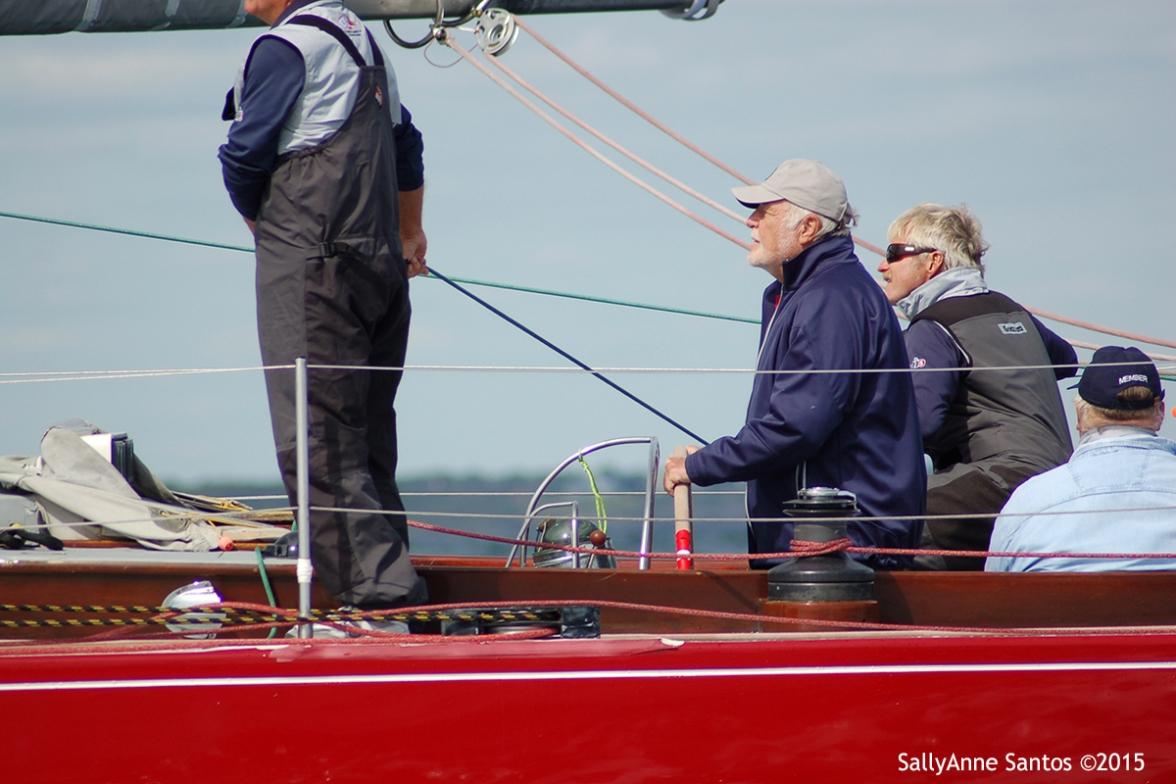 Robert Morton (helm) and Herb Marshall race American Eagle (US-21) racing at 2015 12mR North American Championship, Newport, RI ~ photo by: SallyAnne Santos