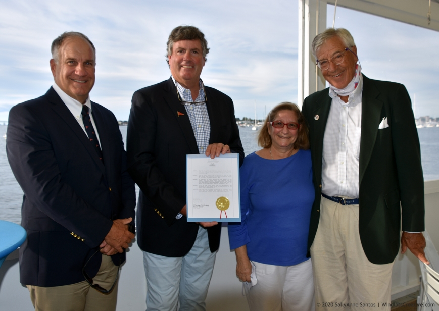 Members of Ida Lewis Yacht Club's 2019 12mR World Championship Organizing Committee acknowledged by the City of Newport with a Resolution of Council.