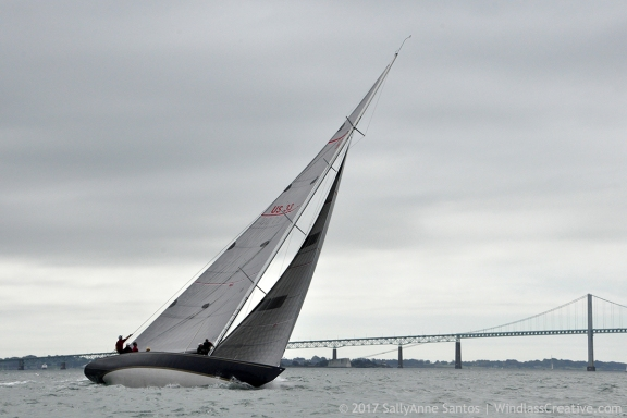 Defender (US-33) racing at 1983 America's Cup Defender Trials ~ photo courtesy Brian Melzian