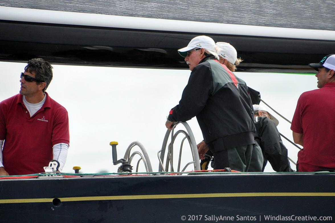 Dennis Williams at helm of Defender (US-33) racing at 2017 12mR North American Championship Newport, RI ~ photo by: SallyAnne Santos