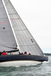 Defender (US-33) racing at 2017 12mR North American Championship Newport, RI ~ photo by: SallyAnne Santos