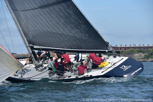 Defender (US-33) racing at 2018 New York Yacht Club Race Week, Newport, RI ~ photo by: SallyAnne Santos