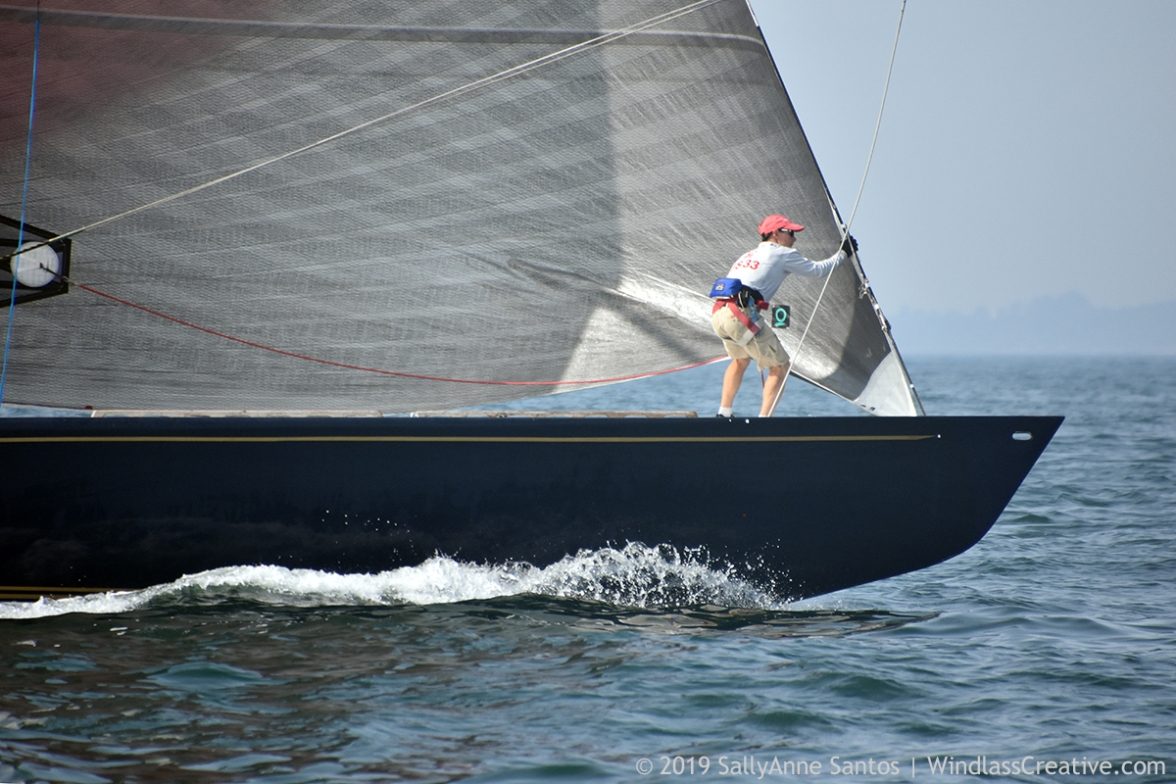 Defender (US-33) racing at 2019 12mR World Championship, Newport, RI ~ photo by: SallyAnne Santos