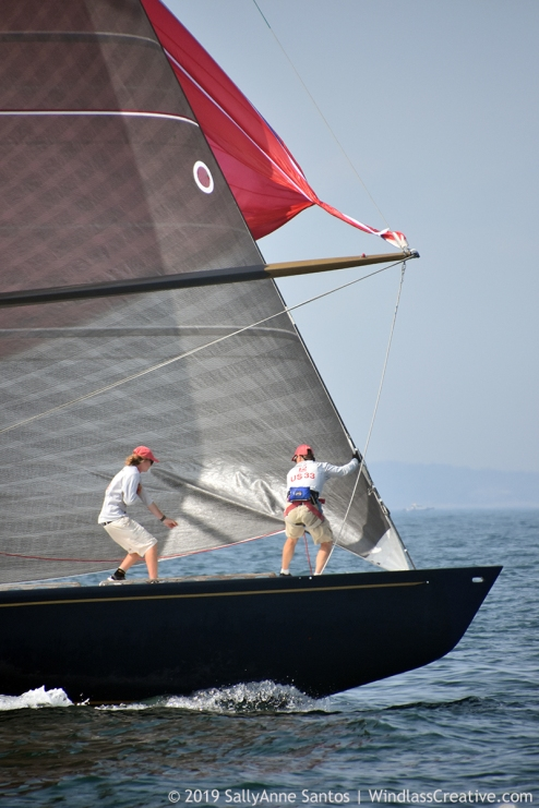 Defender (US-33) racing at 2019 12mR World Championship, Newport, RI ~ photo by: SallyAnne Santos
