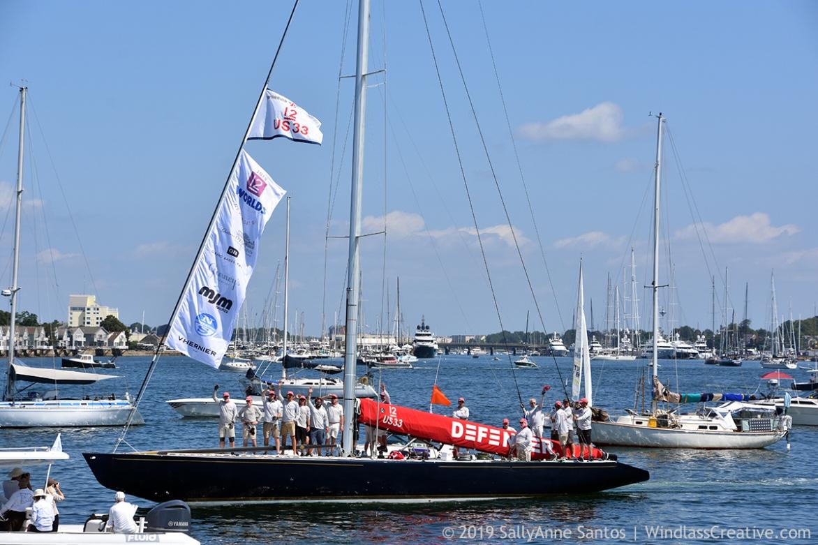 Defender (US-33) at 2019 12mR World Championship Parade of Sail, Newport, RI ~ photo by: SallyAnne Santos