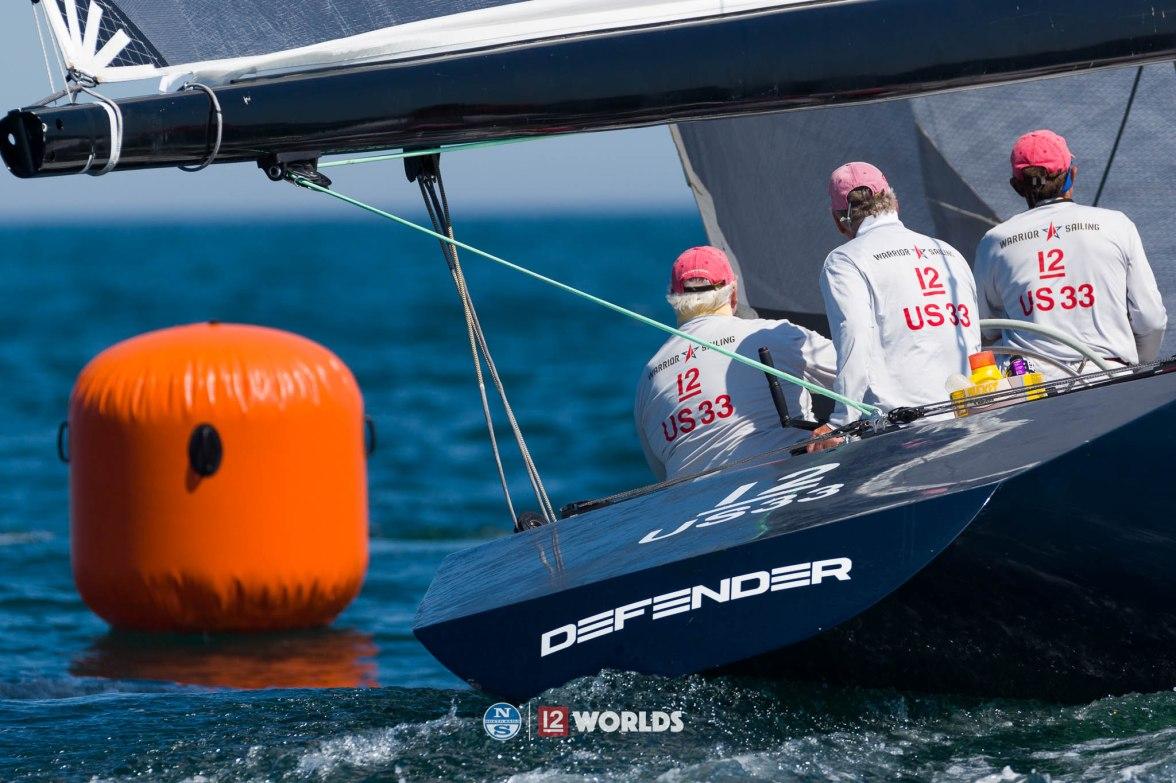Defender (US-33) racing at 12mR World Championship at Newport, RI ~ photo by: Ian Roman