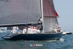 Defender (US-33) racing at 12mR World Championship at Newport, RI ~ photo by: Ian Roman