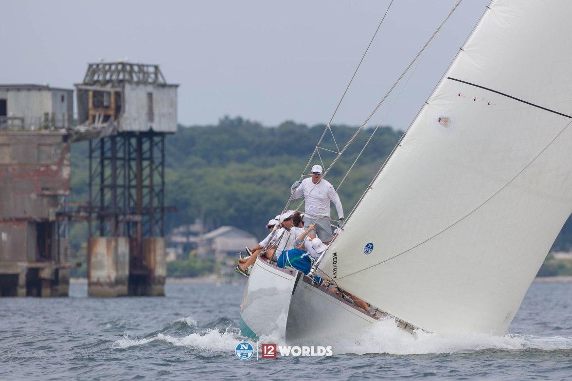 Onawa (US-6) racing at 2019 12mR World Championship, Newport, RI, USA.