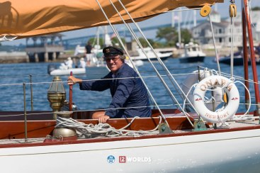 Earl McMillen at the helm of Onawa during the 12mR Parade of Sail at the 2019 12mR World Championship, Newport, RI