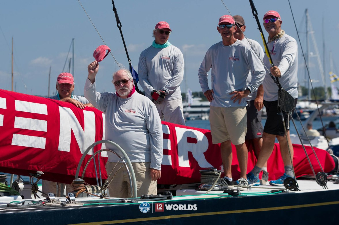 Dick Enersen (at helm) and crew raced Defender (US-33) at 12mR World Championship at Newport, RI ~ photo by: Ian Roman