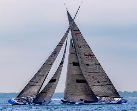 Defender racing at 2019 12mR World Championship, Newport, RI ~ photo by: Chris Tucker