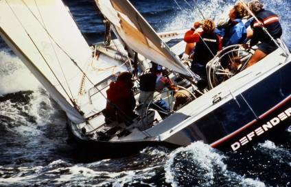Defender (US-33) racing at 1983 America's Cup Defender Trials, Newport, RI ~ photo courtesy: Brian Melzian