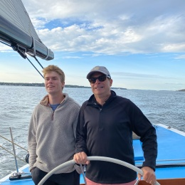 Owner Jack Klinck with son Philip at helm of Nefertiti (US-19)