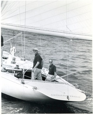 "American Eagle (US-21), 1964 America's Cup, William S. ""Bill"" Cox (helm) and Bill Stetson-- photo by Stephen Lirakis"
